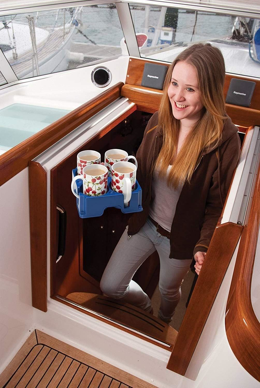 Muggi 4 Cup Holder Mug Glass Bottle Carrier Tray Car Caravan Motorhome Camping