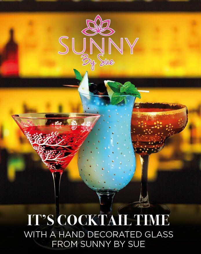 Sunny by Sue Cocktail Margarita Verres Main Décoré 250 ml 2 designs