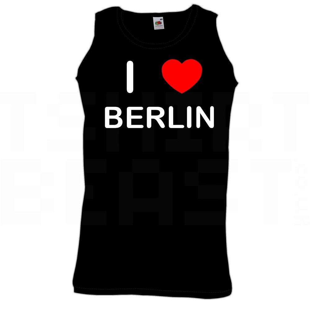 Quality Printed Cotton Gym Vest I Love Heart Berlin
