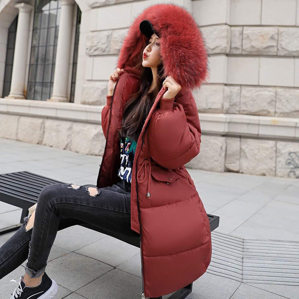 Womens Faux Fur Trim Hooded Midi Cotton Down Puffer Parka Winter Coat