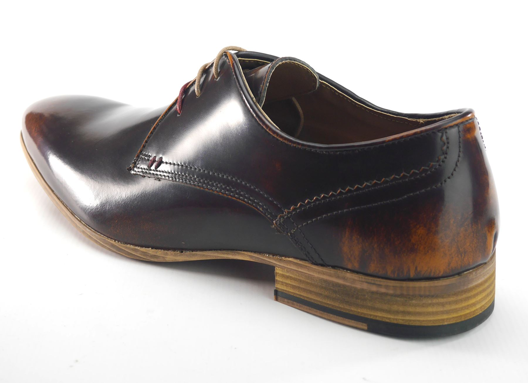 Frank James Mens Leather Lace Up Gibson Formal Shoes Shine Brown or Oxblood