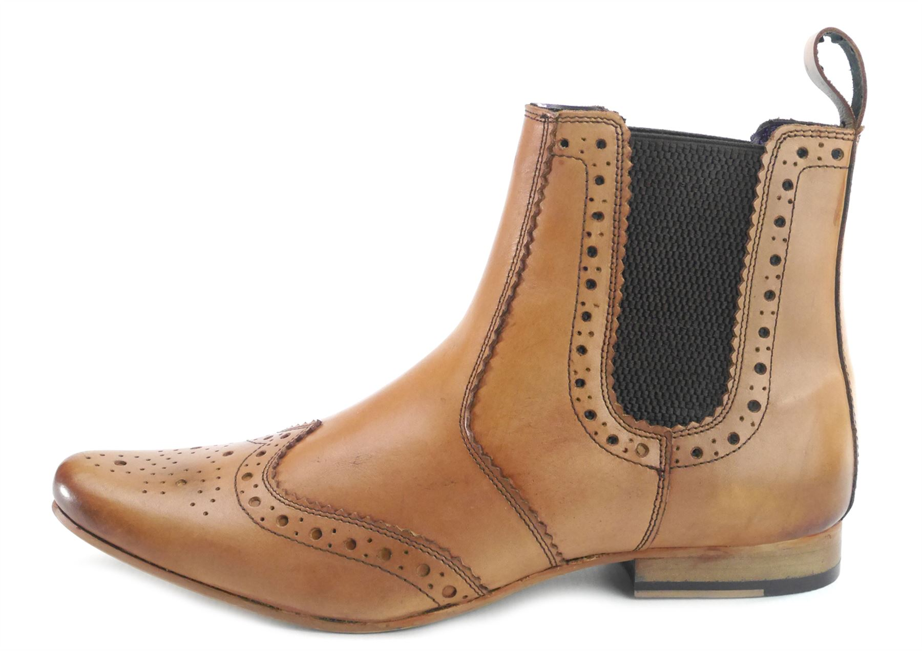 Mens Burnished Leather Tan Black Pointed Pointy Toe Chelsea Dealer Boots London