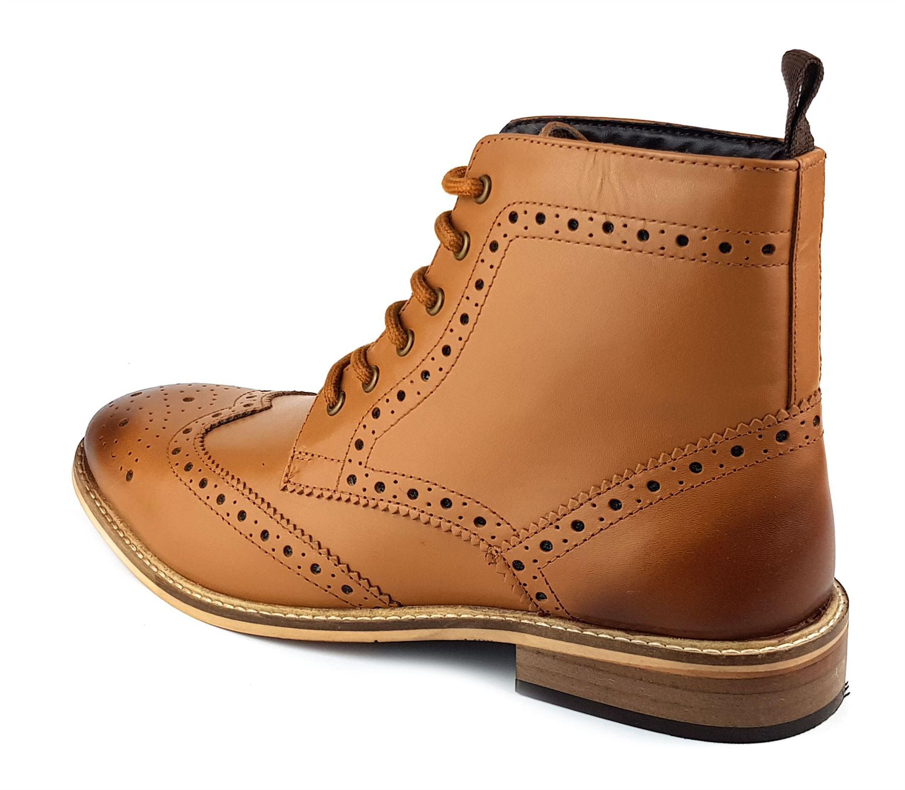 Frank James Kensington Mens Lace Brogue Leather Boots Tan White Navy