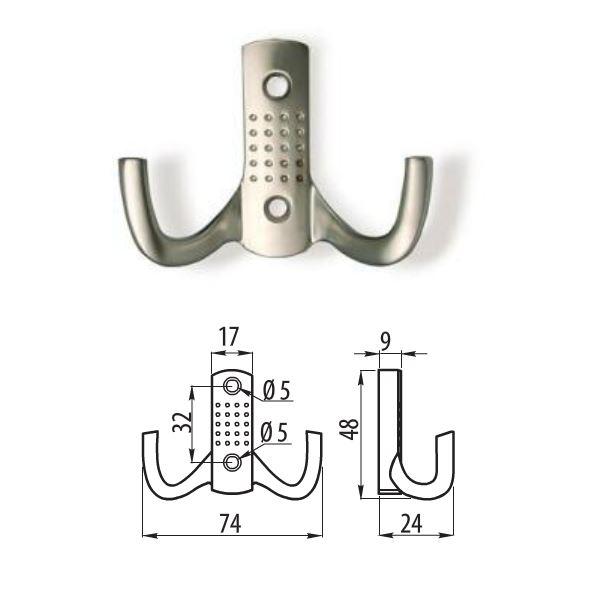 Double alvéolée cintre crochet porte mur salle de bain BK23-aluminium multi pack