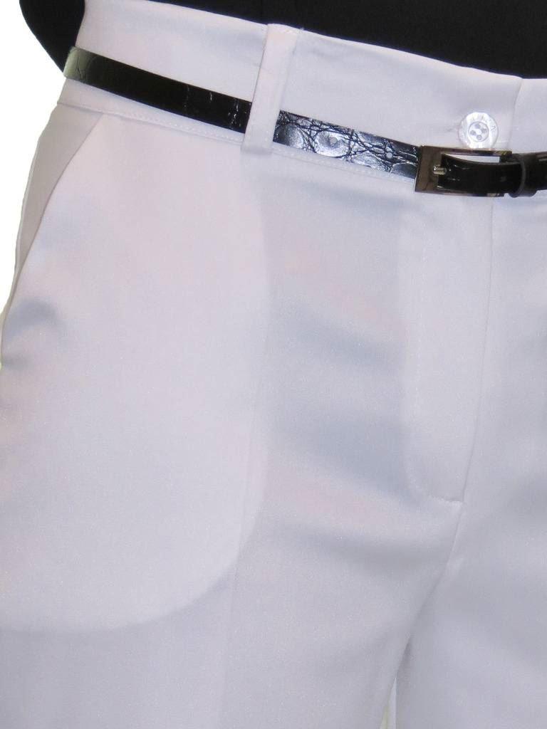 Ladies Smart Crop Trousers Matt Satin Evening Easy Fit With Belt NEW 8-22