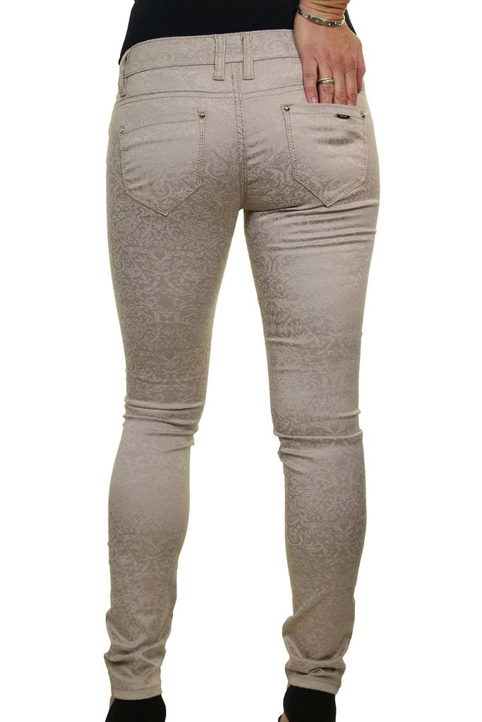 Ladies Stretch Low Waist Emboss Flock Tight Fit Jeans 6-14