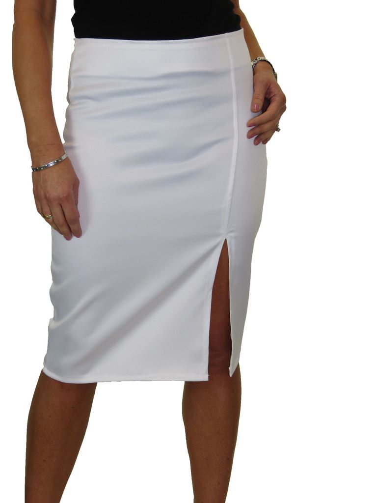 2552 Front Thigh Split Midi Stretch Bodycon Pencil Skirt 6-18 ICE