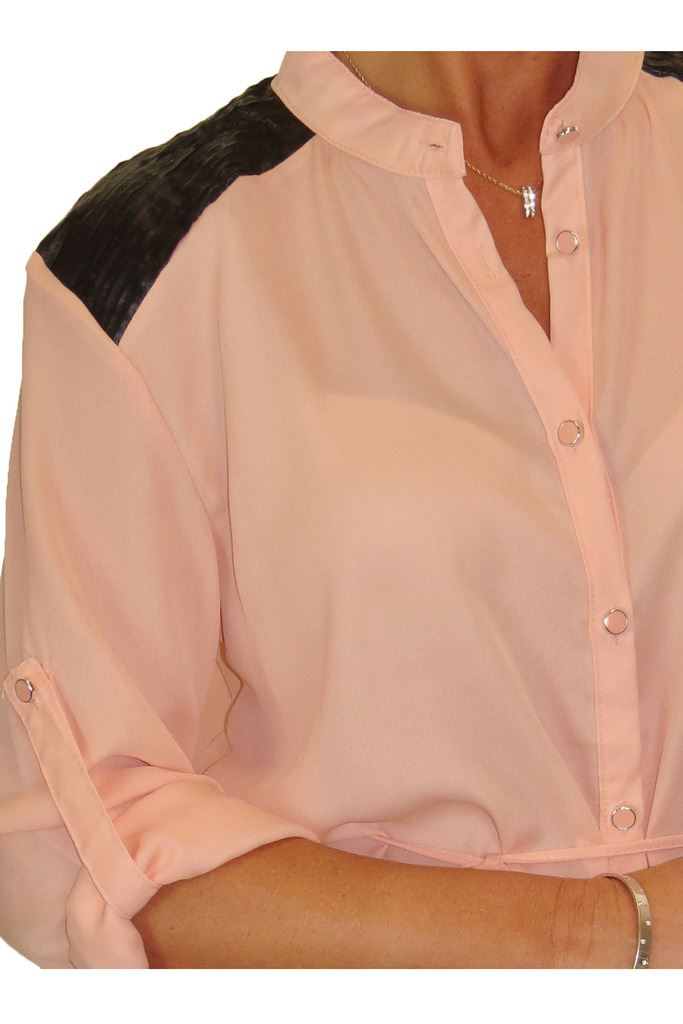 Womens Tunic Shirt Blouse Soft Feel With Shoulder Detail Tie String Belt 8-16