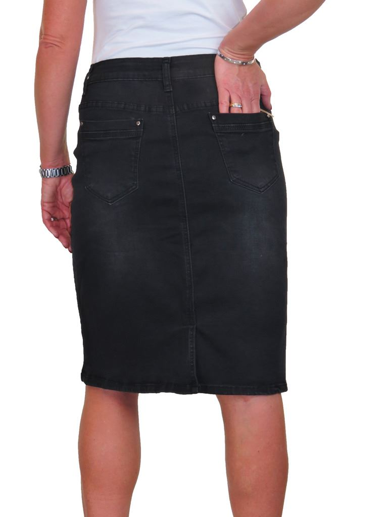 ICE Very Stretchy Denim Jeans Skirt Faded Thigh 14-22