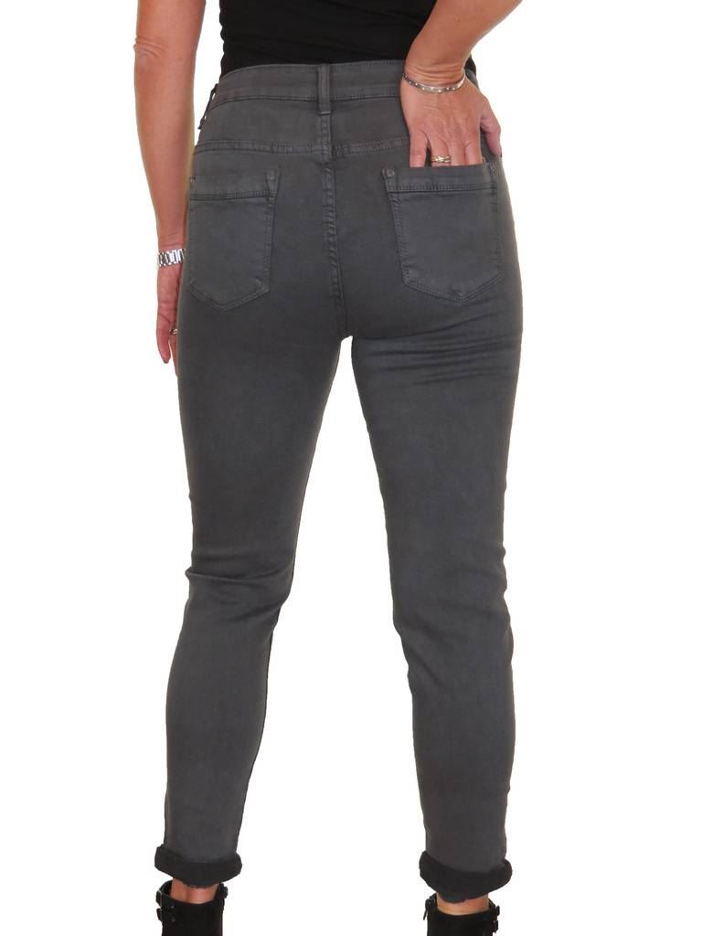 Ladies High Waist  Stretch Denim Jeans Roll Up Cuff 12-22