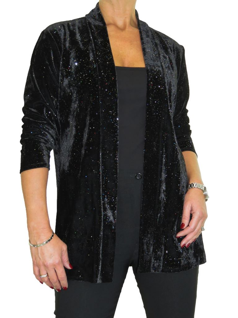 Ladies Velvet and Shine Open Front Soft Lightweight Jacket 10-22