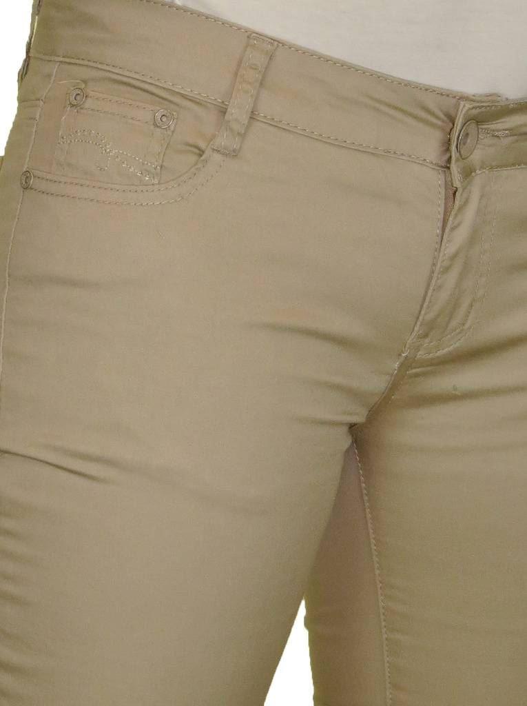Ladies Low Waist Capri Cropped Stretch Jeans Chino Sheen Diamante Cuff NEW 8-16