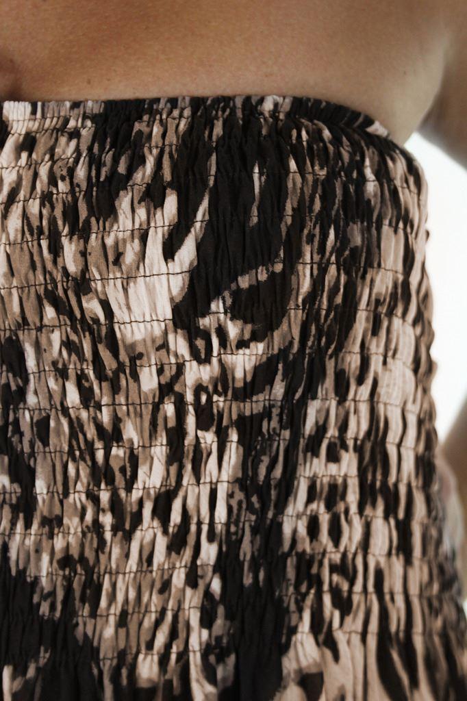 Ladies Bandeau Full Length Animal Print Dress 8-16