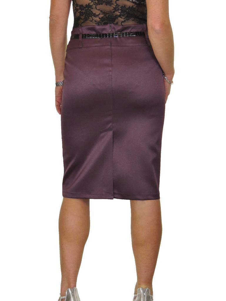 ICE Stretch Matte Satin Skirt Diamante Belt 8-22