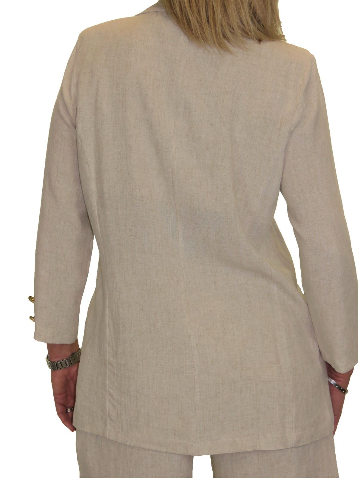 Ladies Open Front Soft Linen Lightweight Jacket 10-22