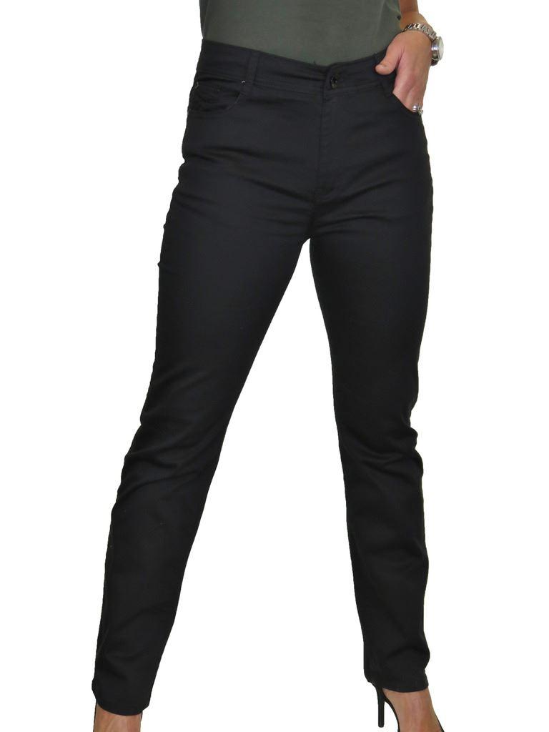 Ladies High Waist Jeans Stretch Chino Sheen Straight Leg 10-24