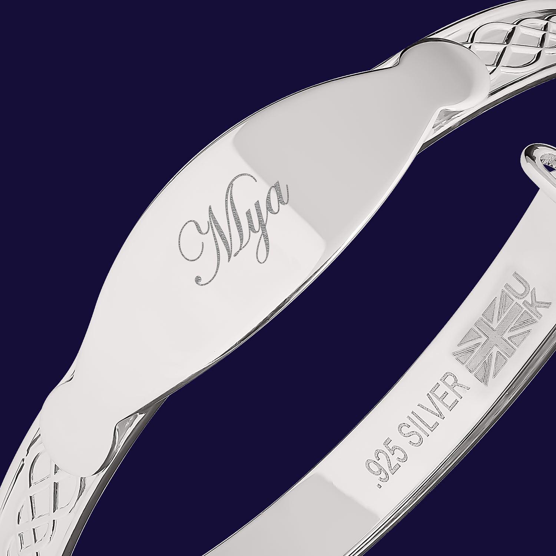 Mya Custom Bracelet Newborn Baby Christening Gift Personalise Bangle Engraved