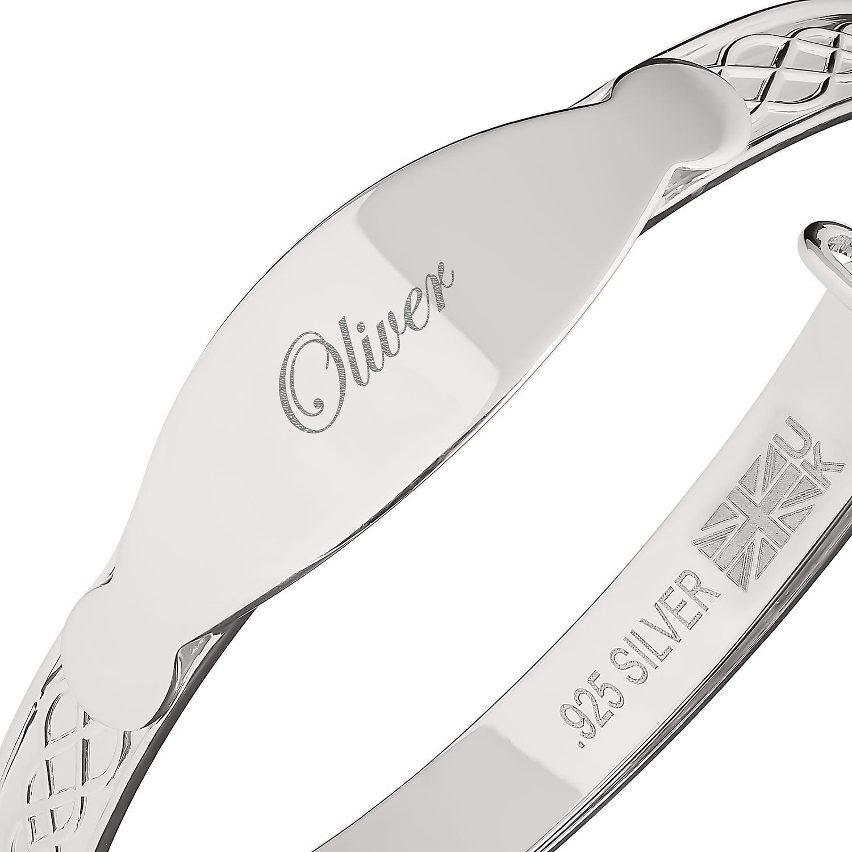 Oliver Custom Bracelet Newborn Baby Christening Gift Personalise Bangle Engraved