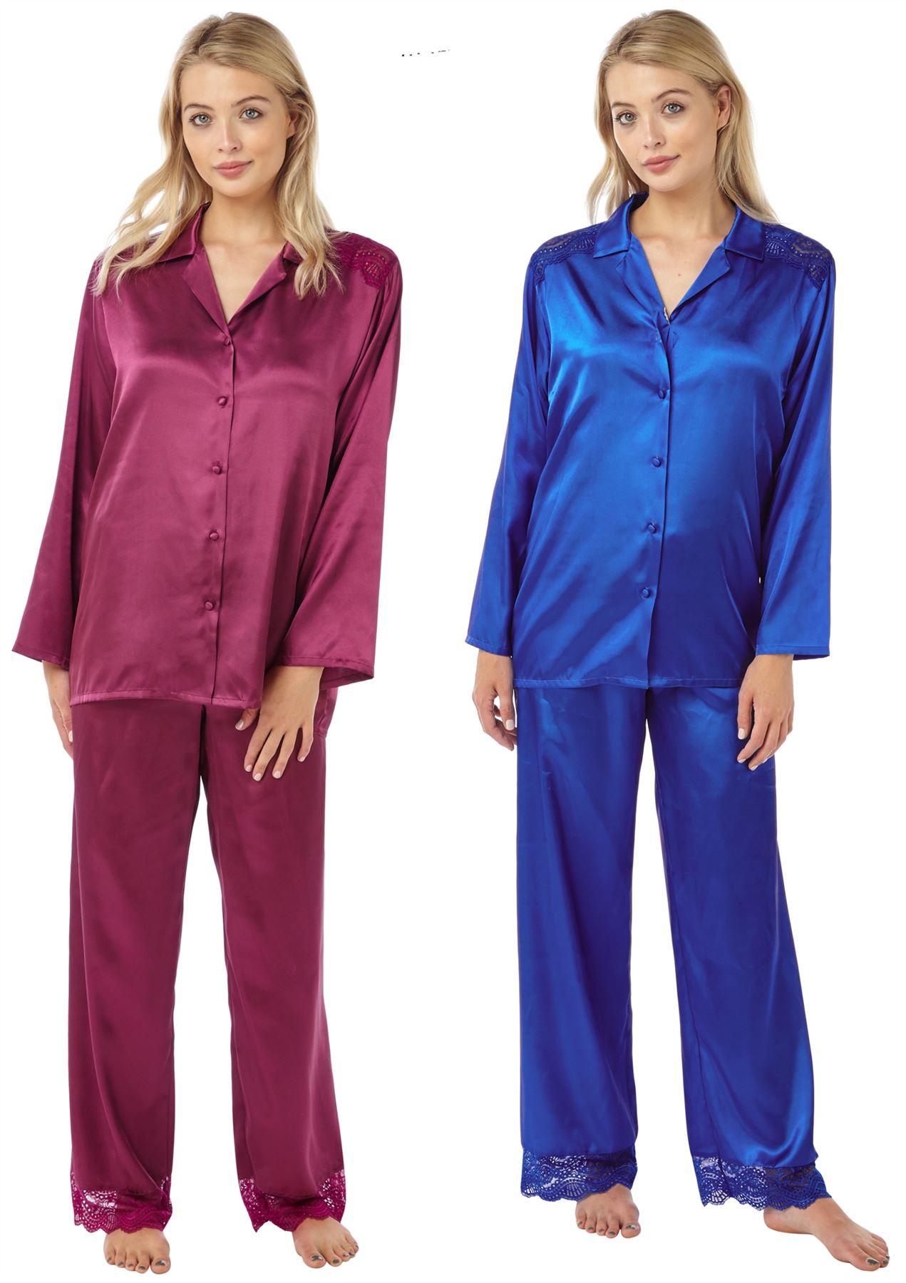 Womens Indigo Sky Charmeuse Satin Long Sleeve Pyjamas IN15115