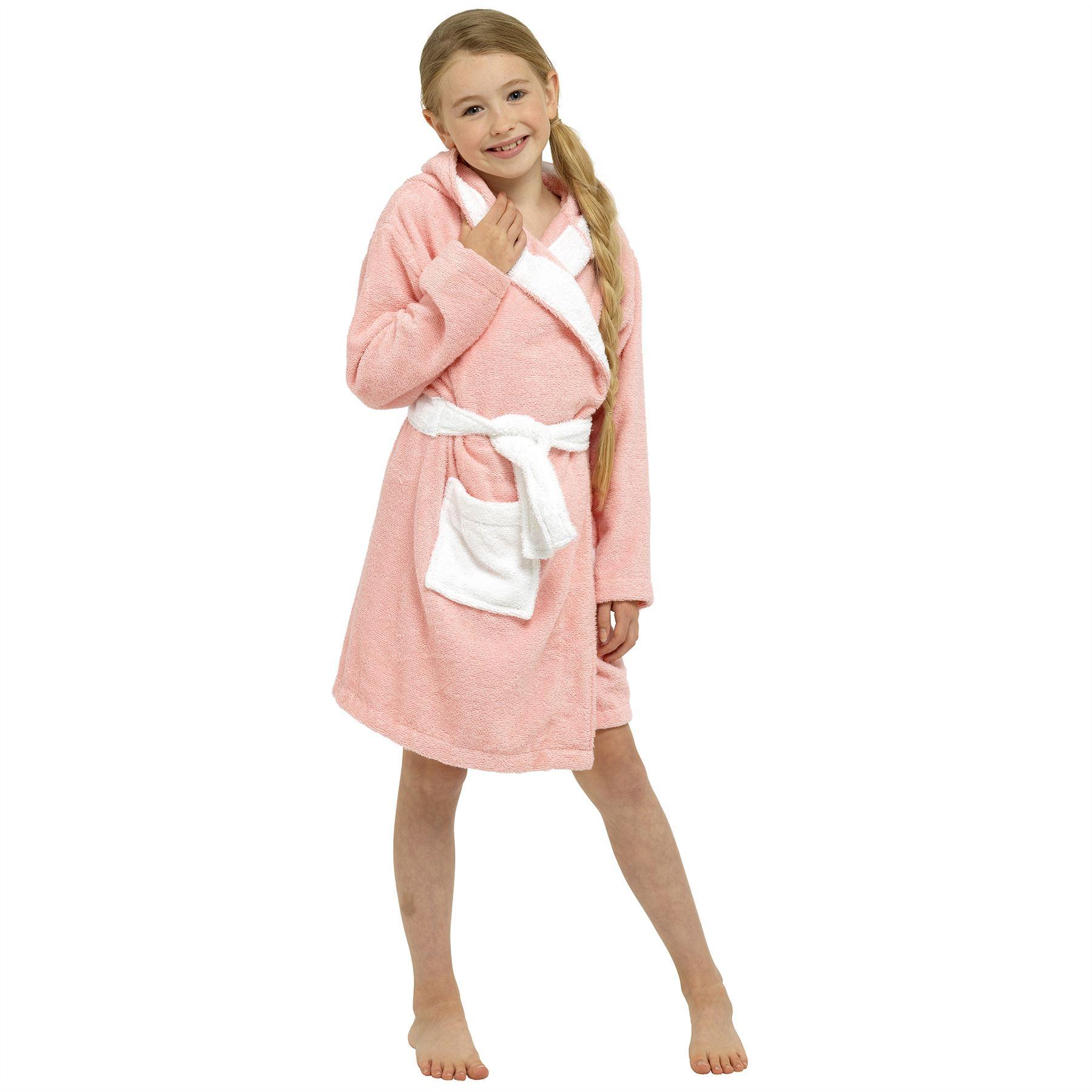 Kids Girls Boys Childrens Animal Hood Towelling Bathrobe Drying Dressing Gown