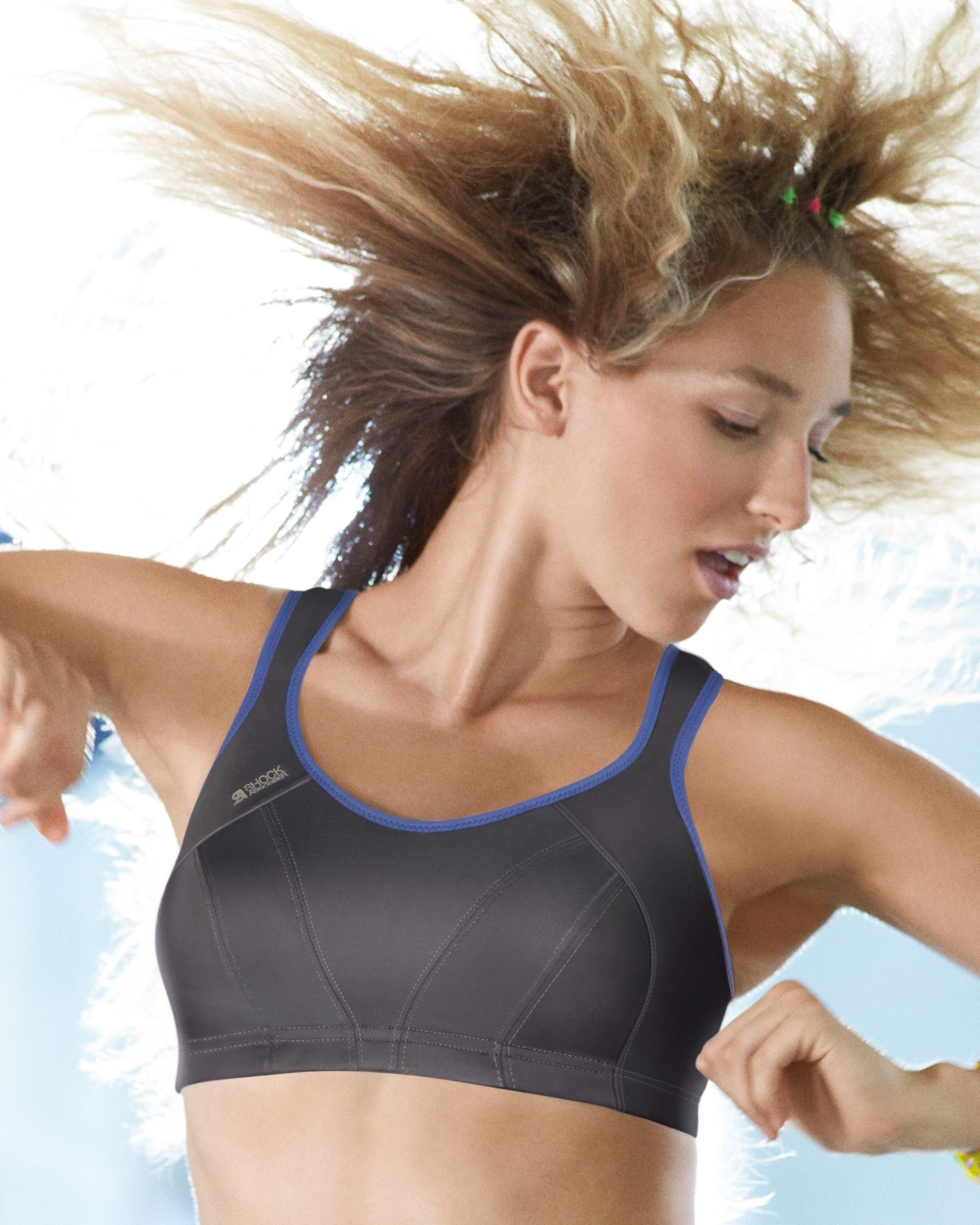 Shock Absorber Sports Bra S4490 Sizes 30-40 B-HH Blue Grey Firm Support.