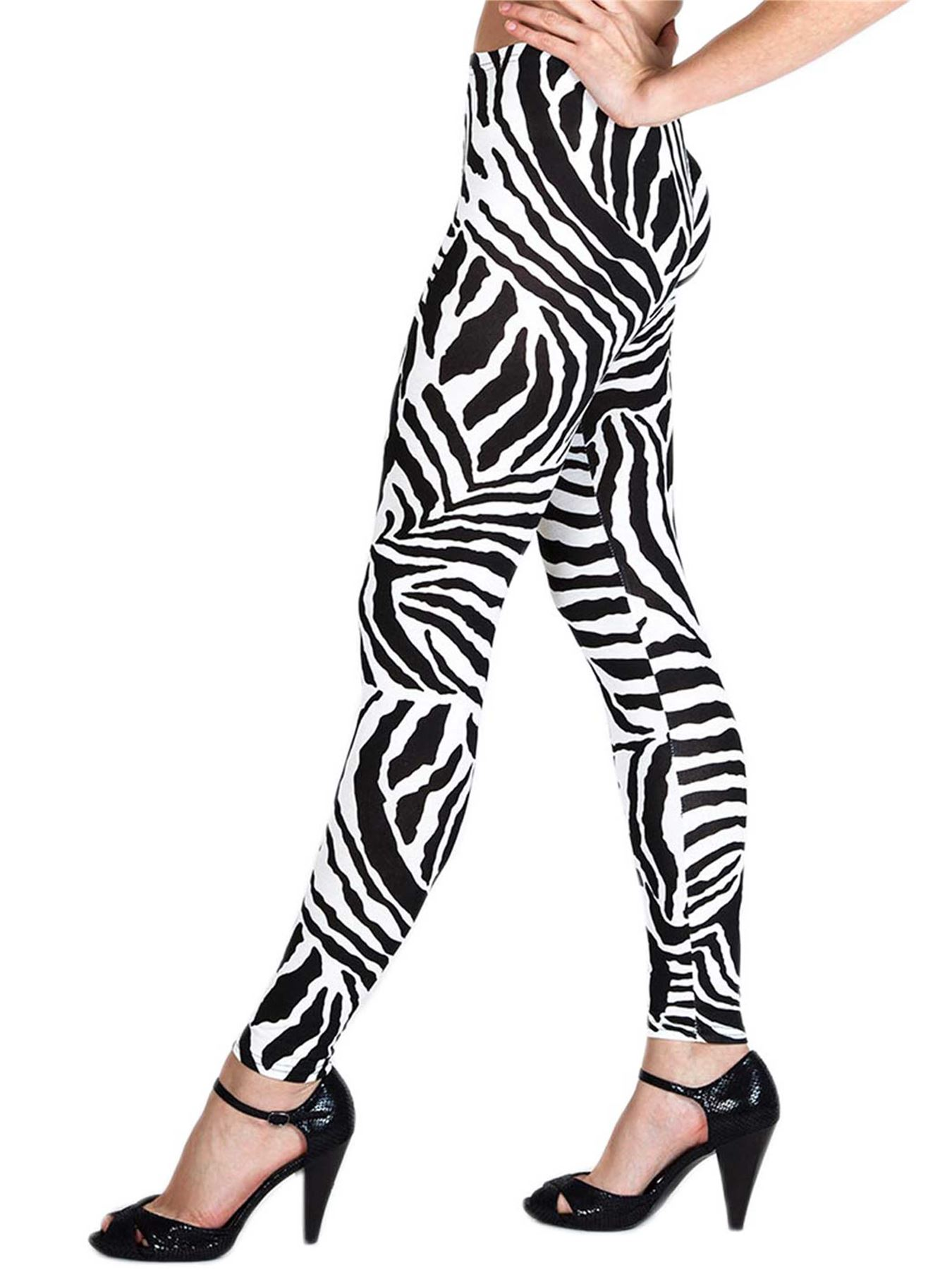Womens Leggings Jegging Zebra Print Full Length Ladies Trouser Yoga Fitted Pant