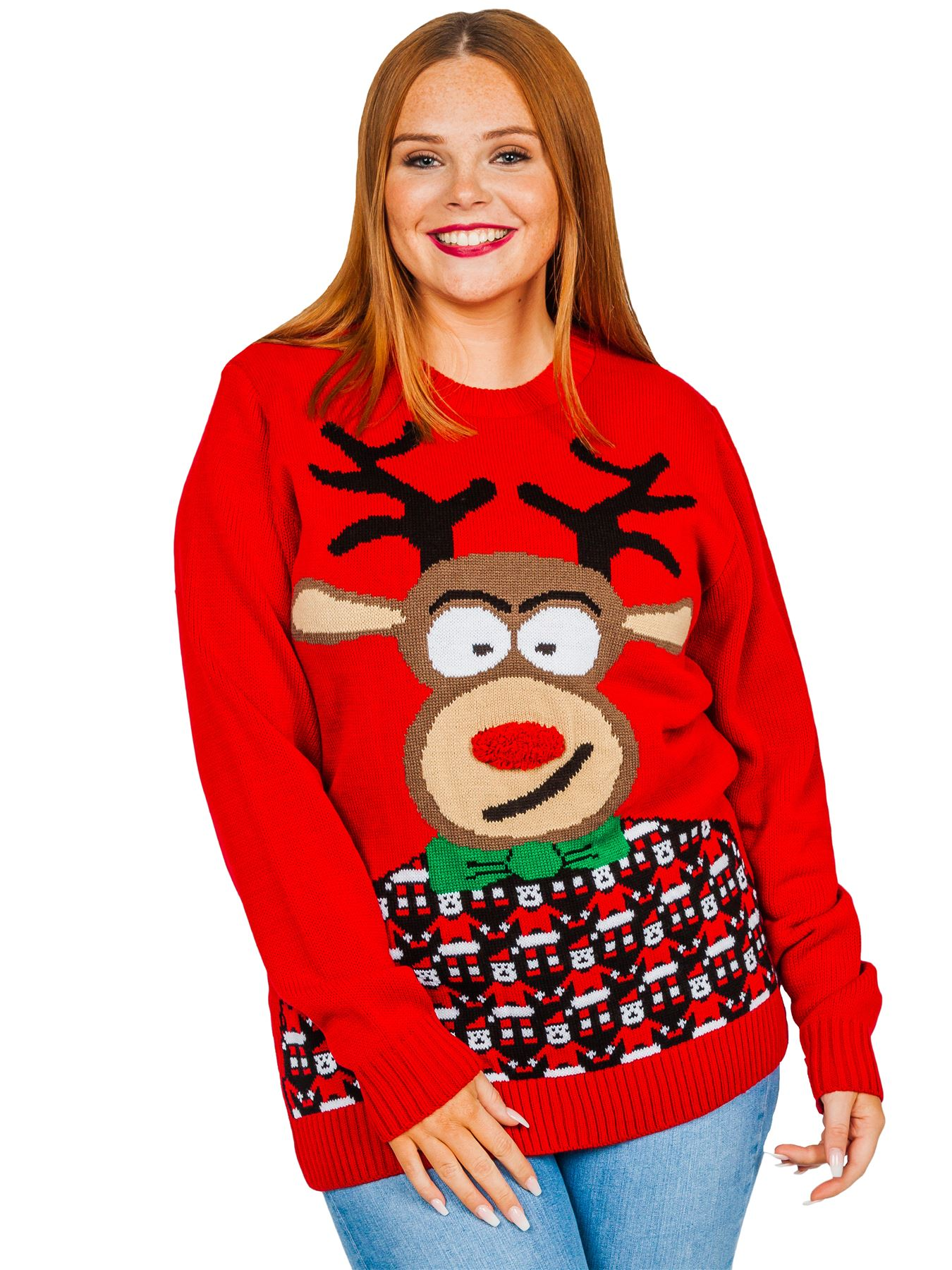 Unisex Christmas Jumper Womens Snowman Reindeer HoHoHo Knitted Sweater Party Lot