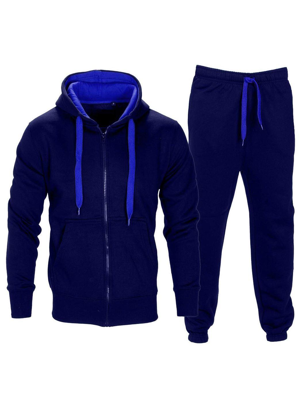 Mens Tracksuit Contrast Fleece Hooded Front Pocket Long Sleeve Zip Up Top Bottom