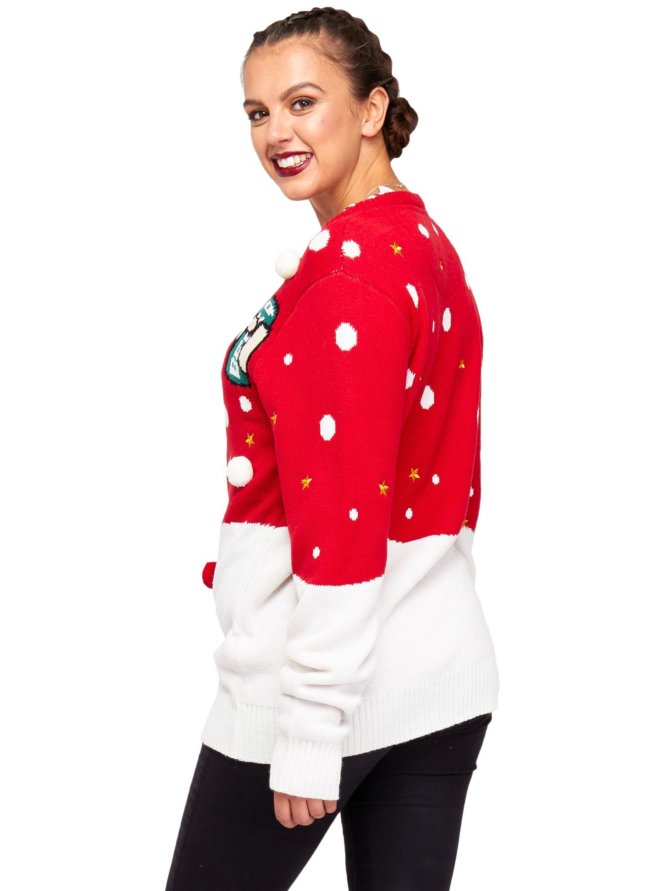 Unisex Christmas Jumper Womens Knitted Elf  Safety 3d Graphic Trim Party Sweater