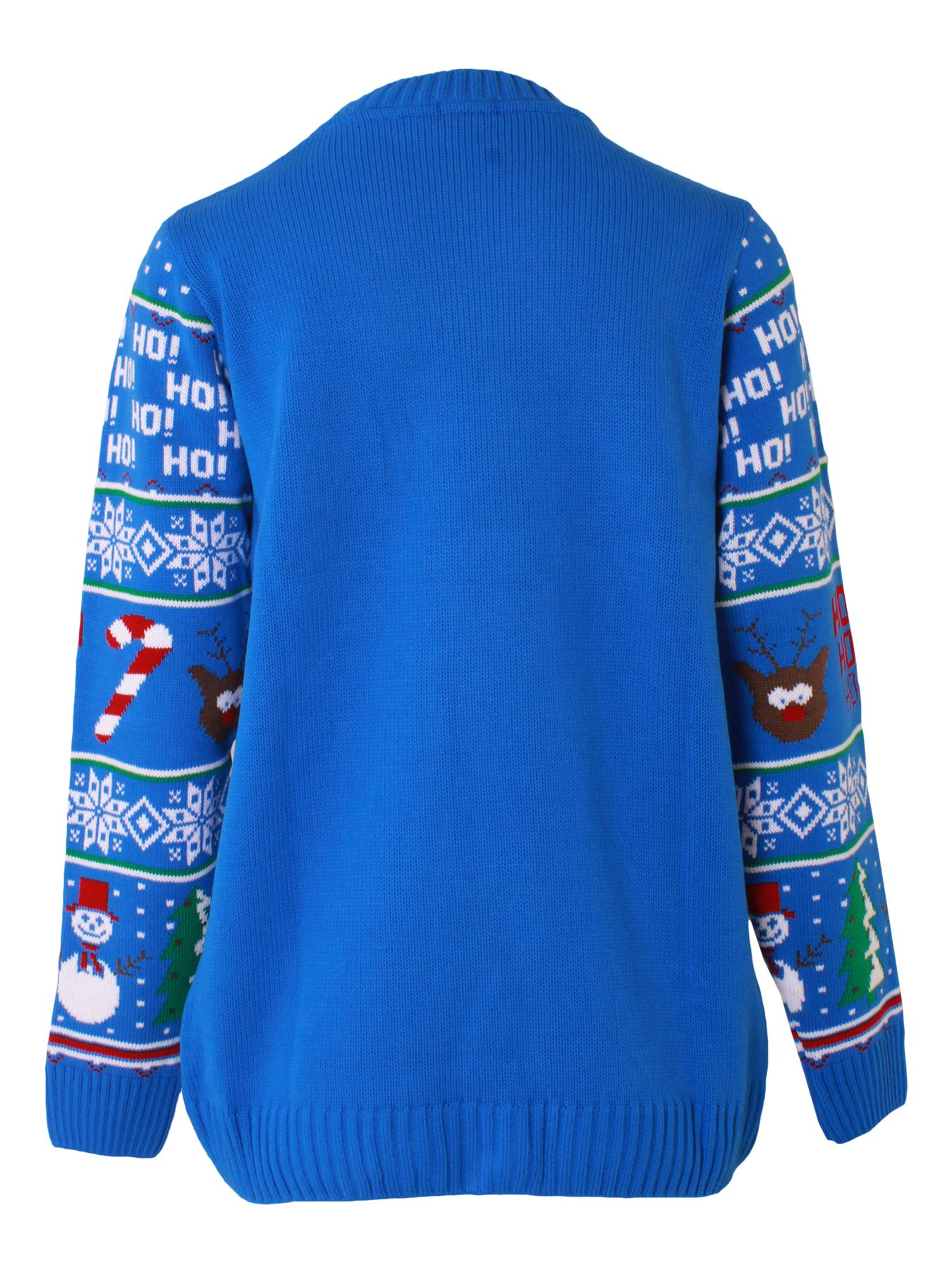 Women Christmas Jumper Ho Ho Ho Xmas Ladies Knitted Pullover Sweater Long Sleeve