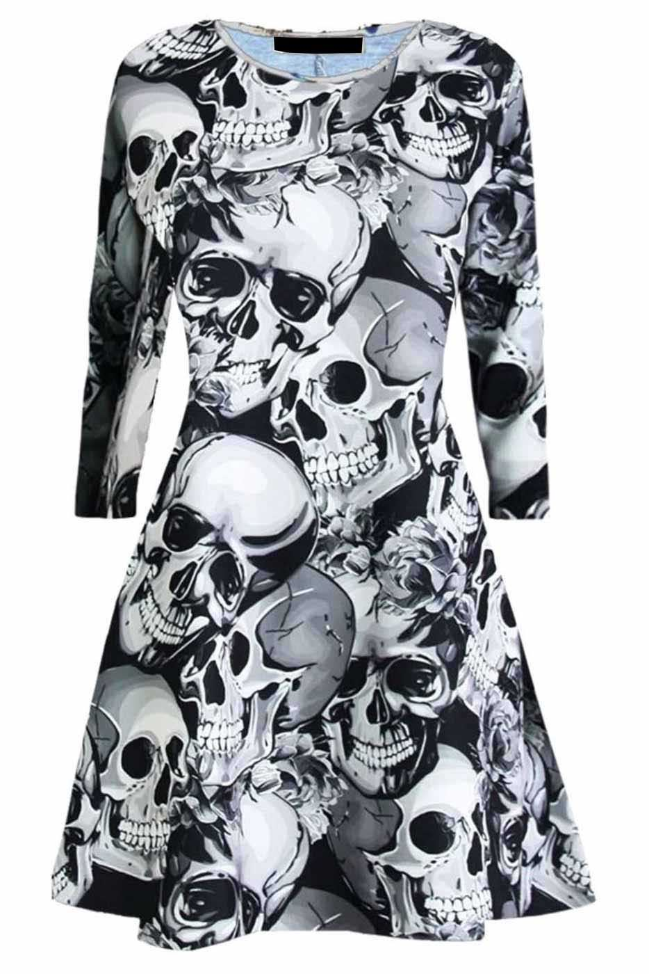 Womens Halloween Tunic Dress Skull Grey Prints Swing Ladies Party Wear Crew Neck