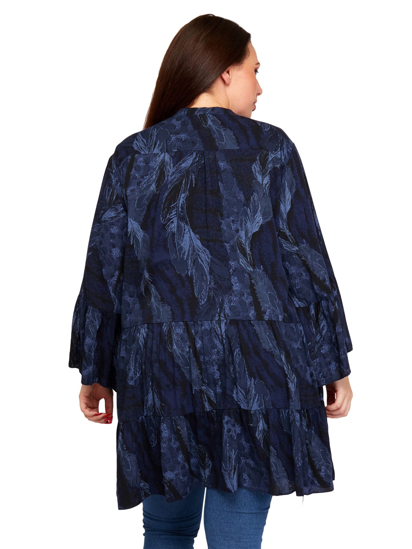 Ladies Tunic Top Feather Animal Printed Fluted Sleeves Womens Casual V-Neckline
