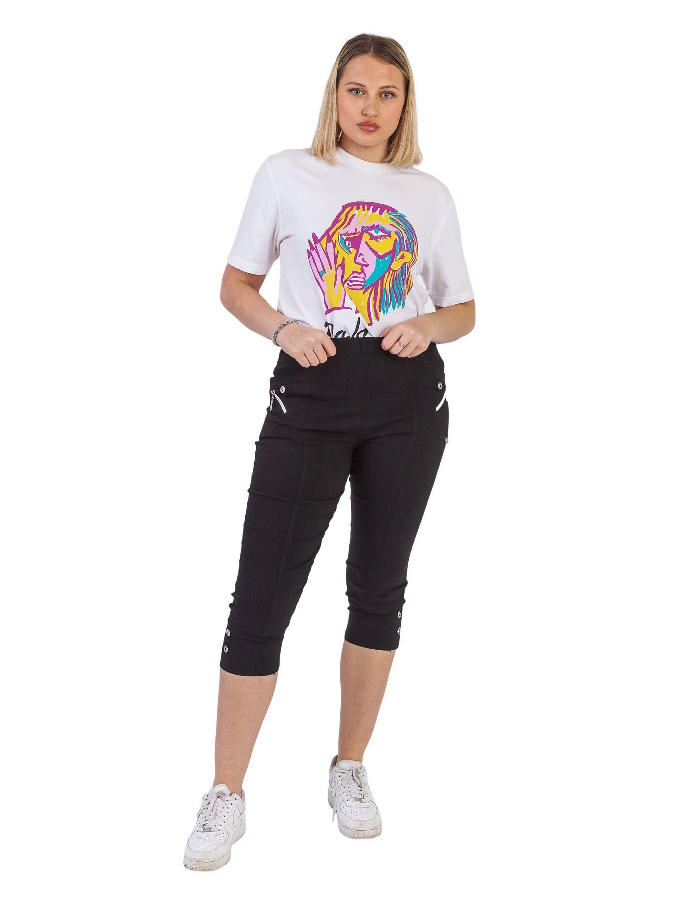 Womens Plain Elasticated Waistband Causal 3//4 Shorts Calf Length Capri Trousers