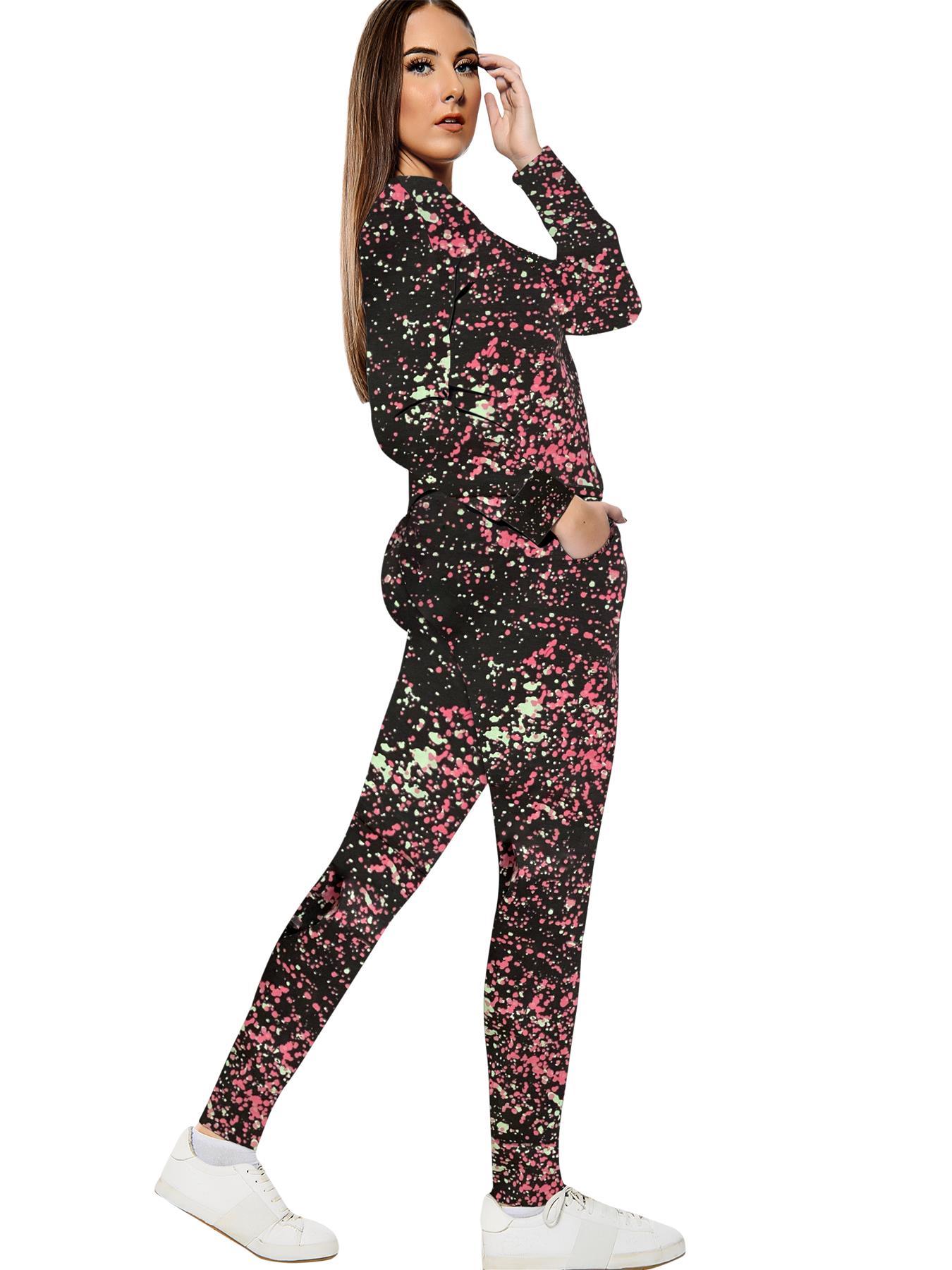 Details about  /Womens Ladies Long Sleeve Plain Lounge Wear Set Casual Comfy Two Piece Tracksuit