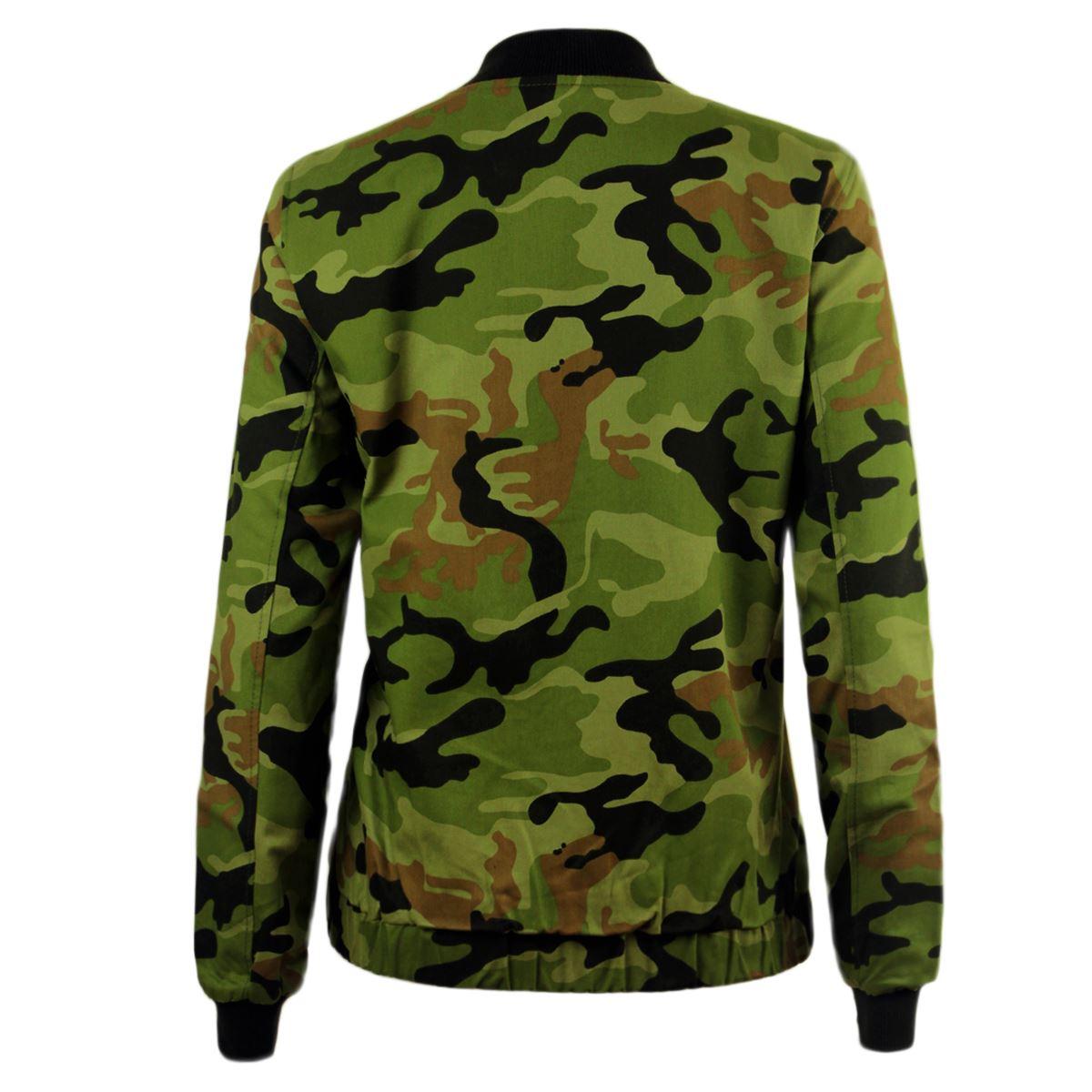 Señoras para mujer lona Biker Cazadora de ejército de camuflaje MA1 Talla 8-14