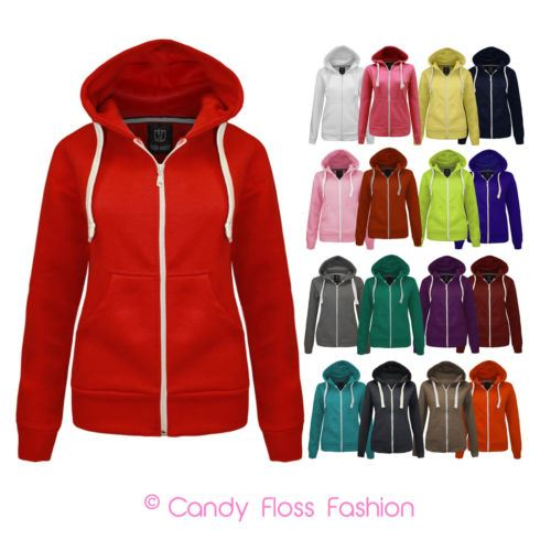TaDa Womens Ladies Plain Zip Hoodie Sweatshirt Fleece Hooded Jacket Sizes 6-20
