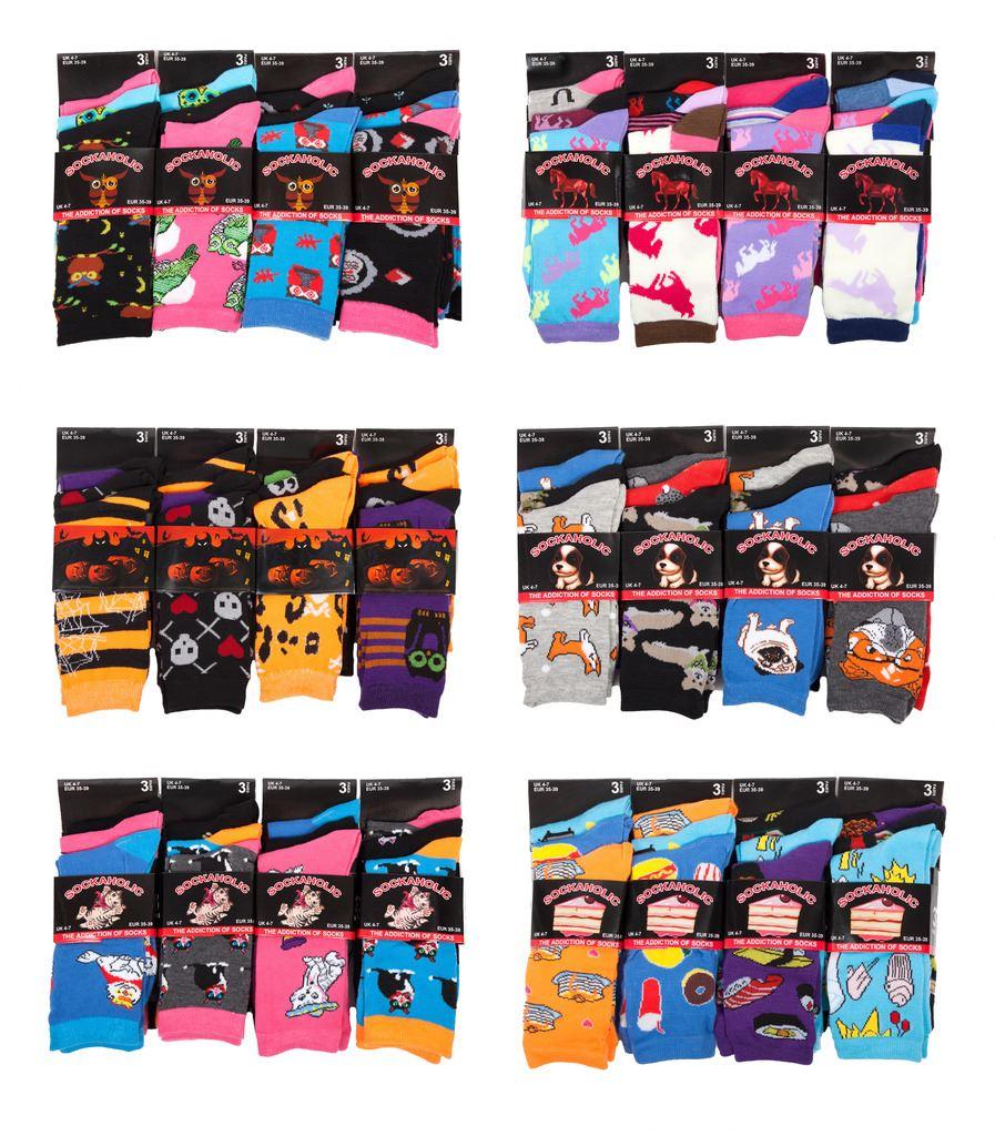 Ladies Owl Socks 12 Pairs Cotton Blend Fun Novelty Animal Design Barn Own Socks