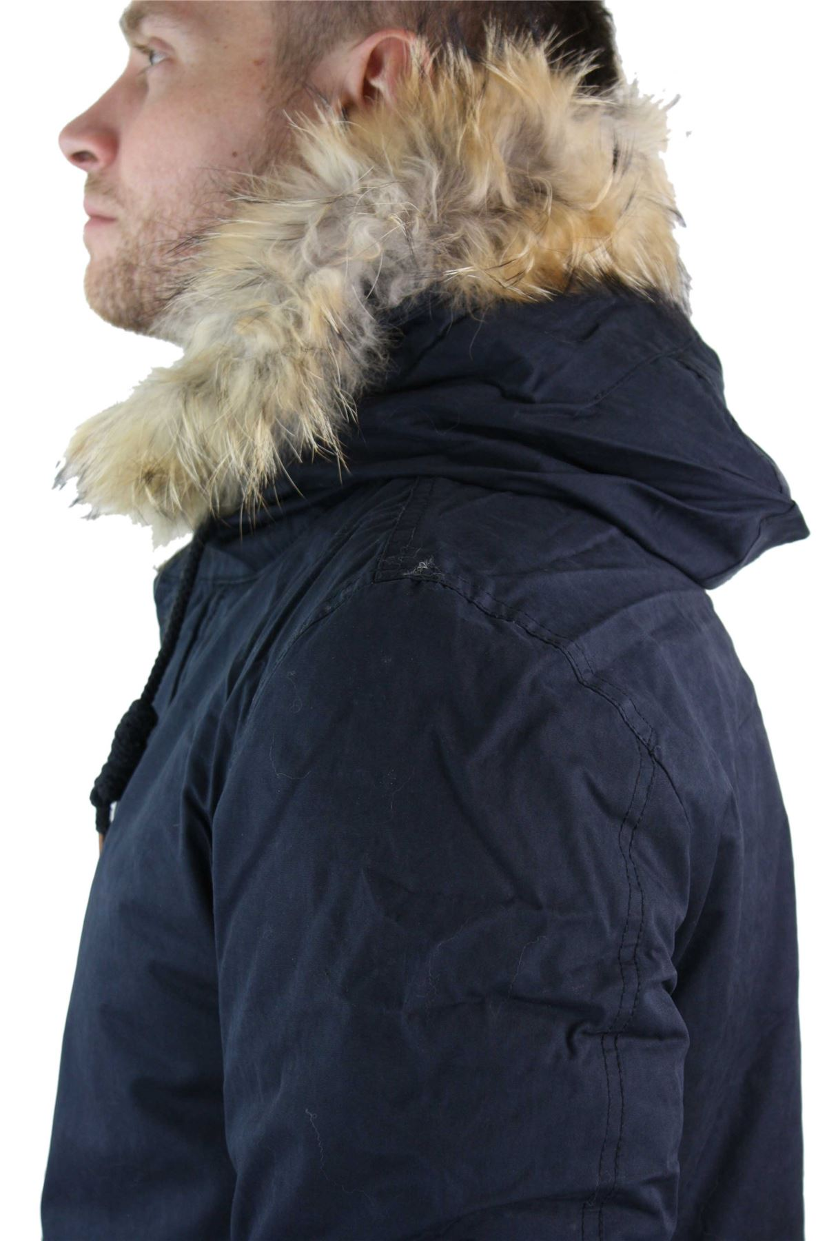 Winter Fur Hood Jacket Fishtail Warm Coat Mens Hooded Parker Parka