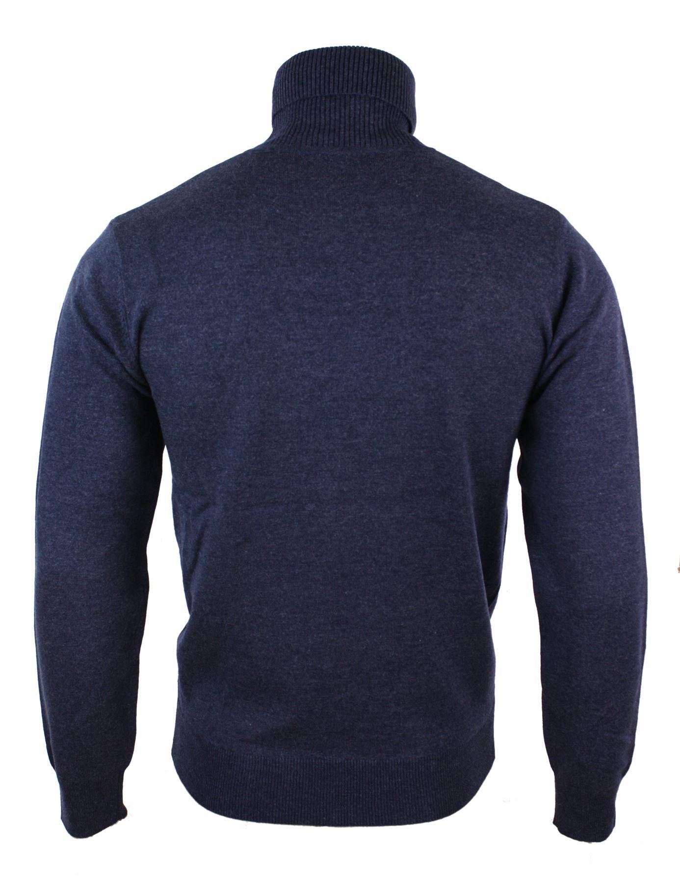 Mens Slim Fit Polar Roll Neck Jumper Light Fit Cashmere Wool Blend Grey Black Na