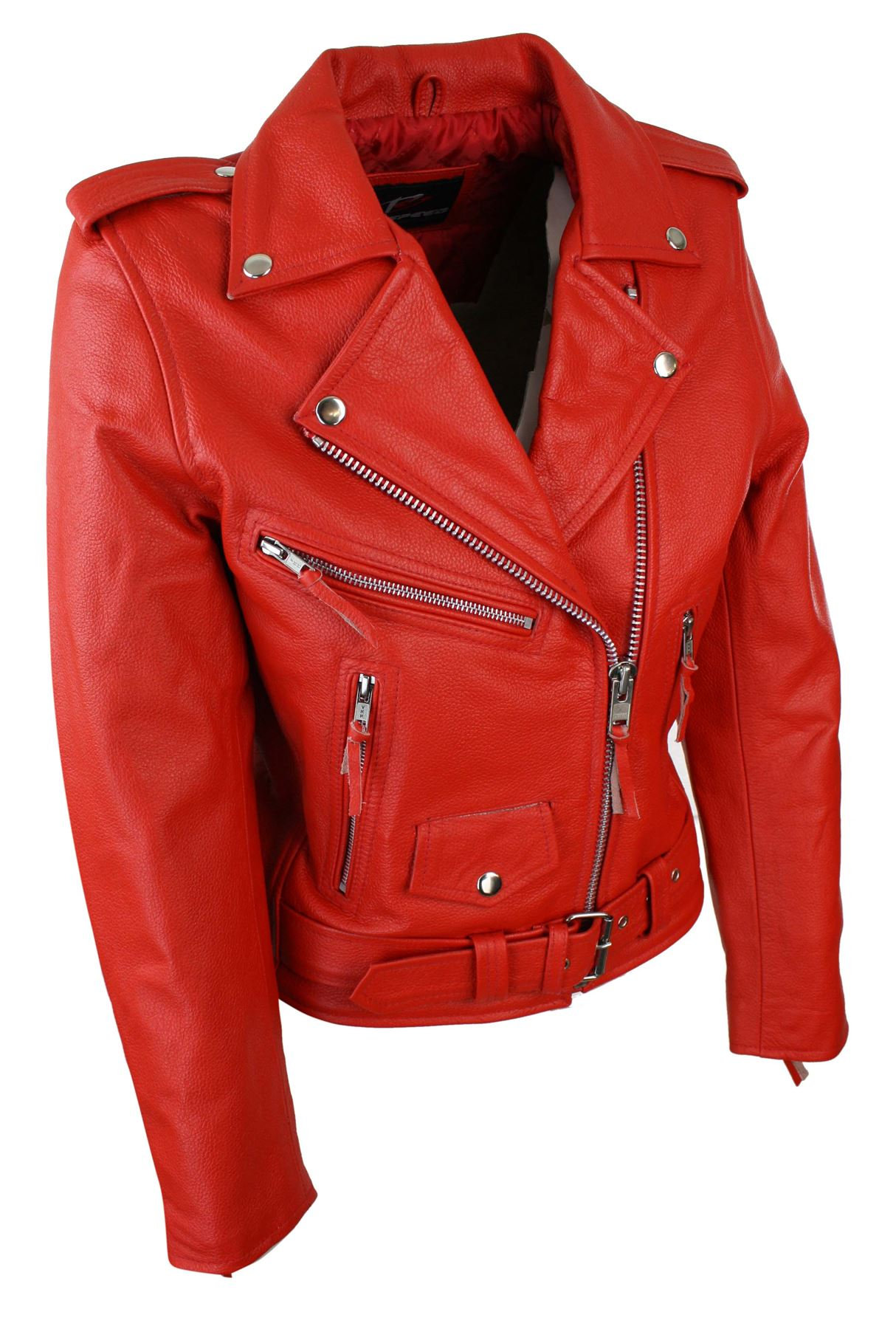Ladies Women Classic Brando Biker Motorcycle Motorbike Hide Leather Jacket