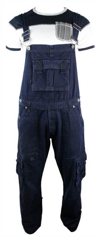 Homme Dungarees jeans Combat Poches Bleu Marine Bleu Foncé Turn Up
