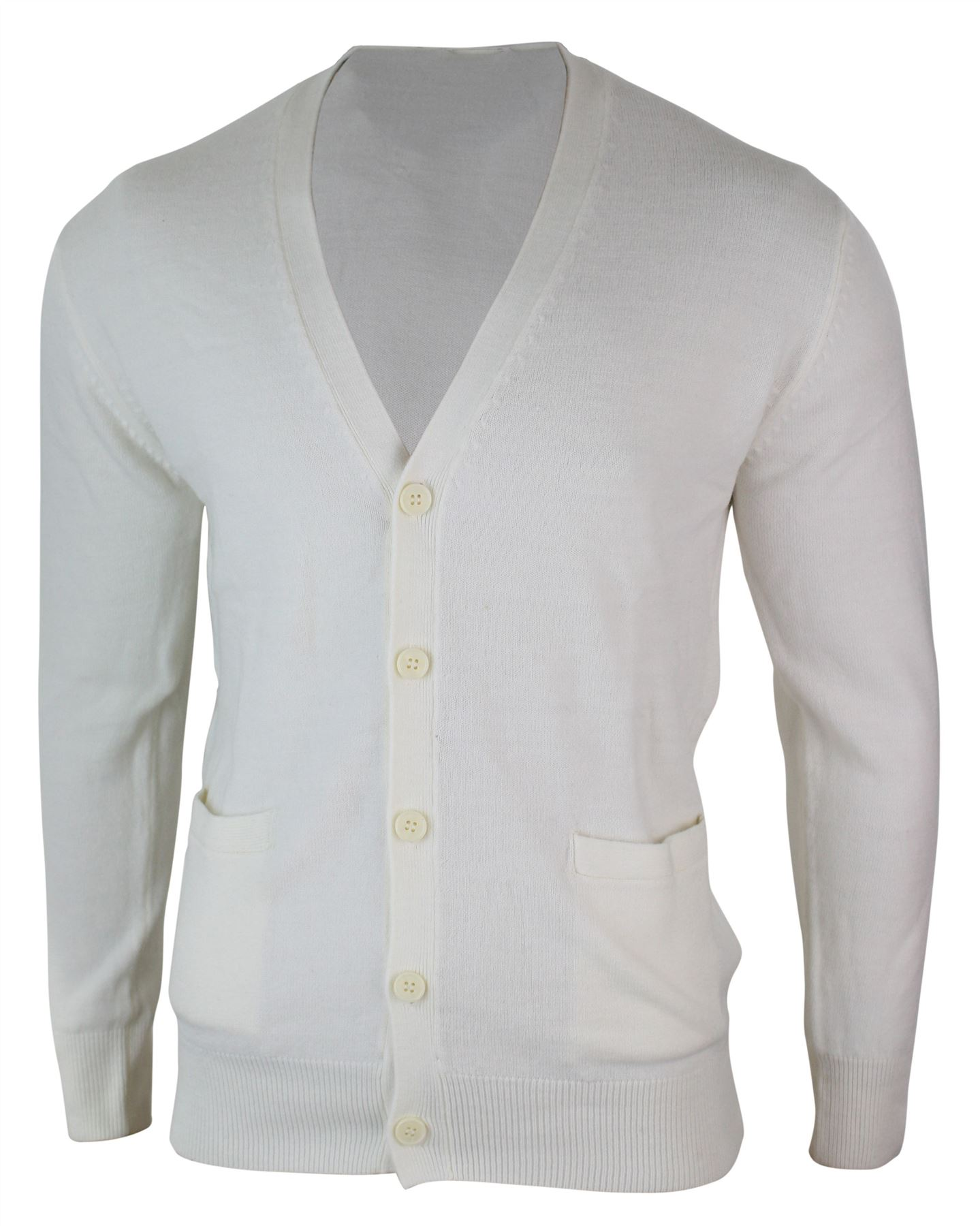 Mens Slim Fit Button Knitted Light Cardigan Jumper Top Smart Casual
