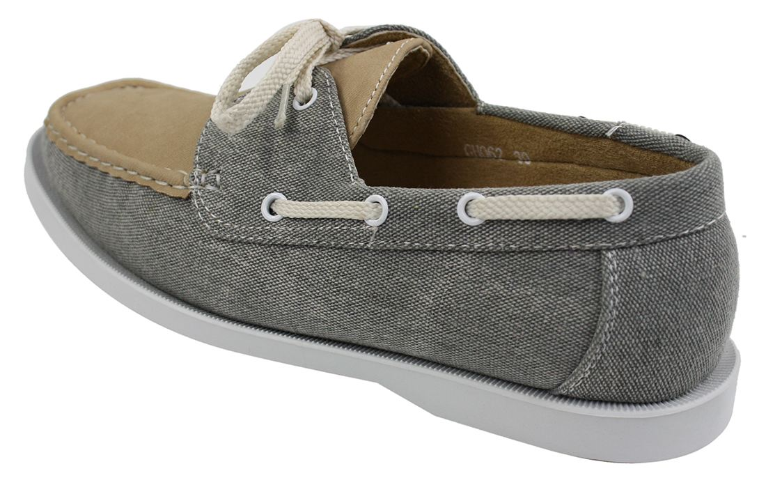 Mens Retro Denim Style Vintage Deck Boat Shoes Smart Casual Laced Navy Washed