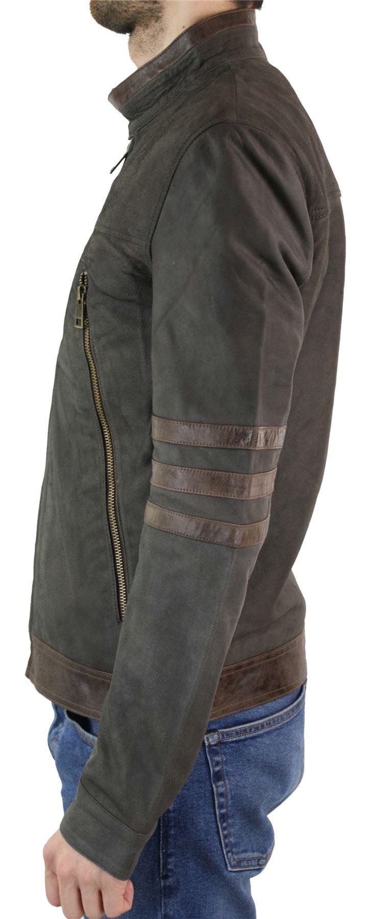 Mens X-Men Wolverine Zipped Biker Racing Jacket Black Brown Real Leather Genuine