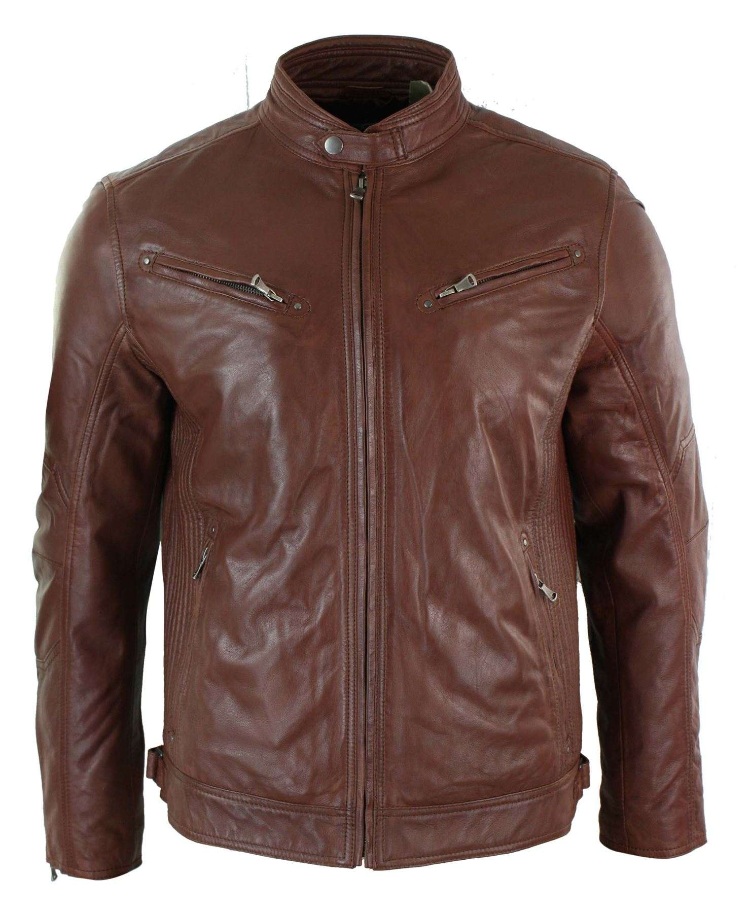 Mens Tailored Fit Zipped Real Genuine Leather Jacket Smart Casual Biker Retro