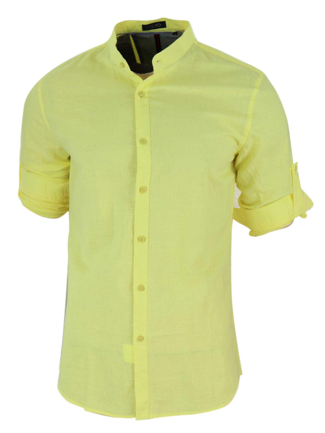 Da Uomo Lino Cotone Nehru Grandad Colletto Alzare Camicia Estate Smart Casual
