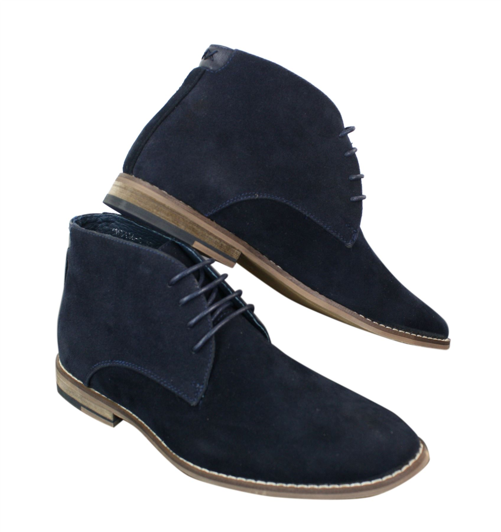 Men Suede Ankle Boots Chelsea Laced Real Leather Lined Italian Design Smart