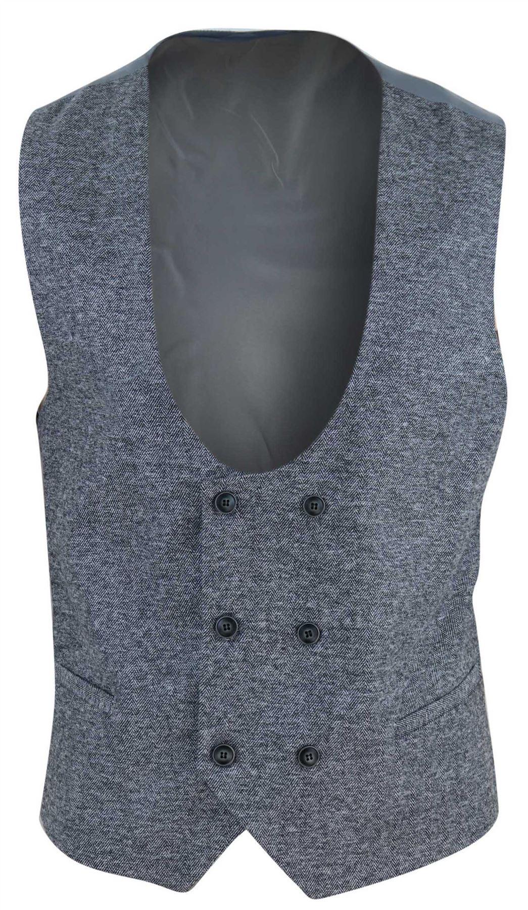 Mens Waistcoat Herringbone Double Breasted Tweed Slim Fit Peaky Blinders Gilet