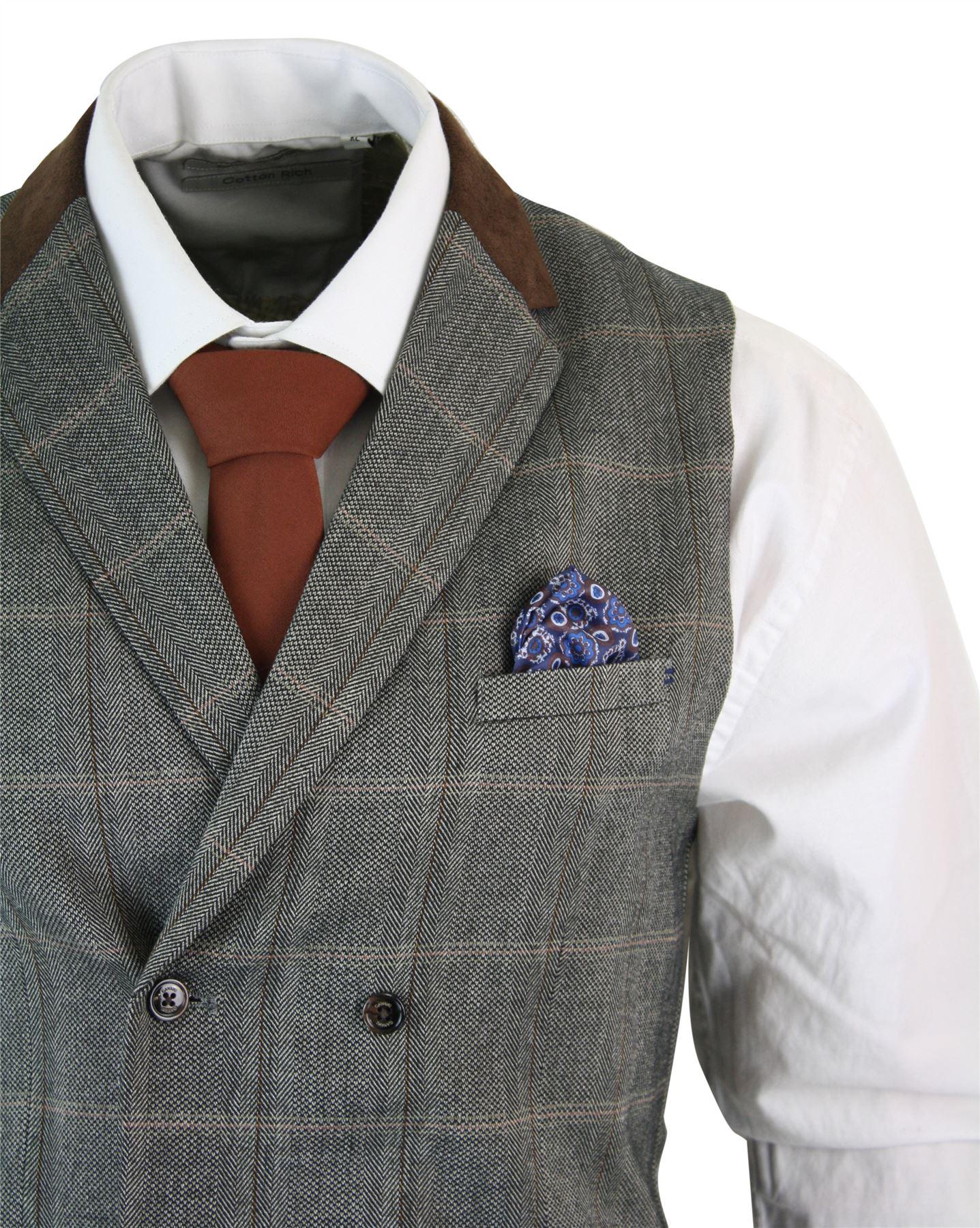 Mens Double Breasted Herringbone Tweed Peaky Blinders Vintage Check Waistcoat