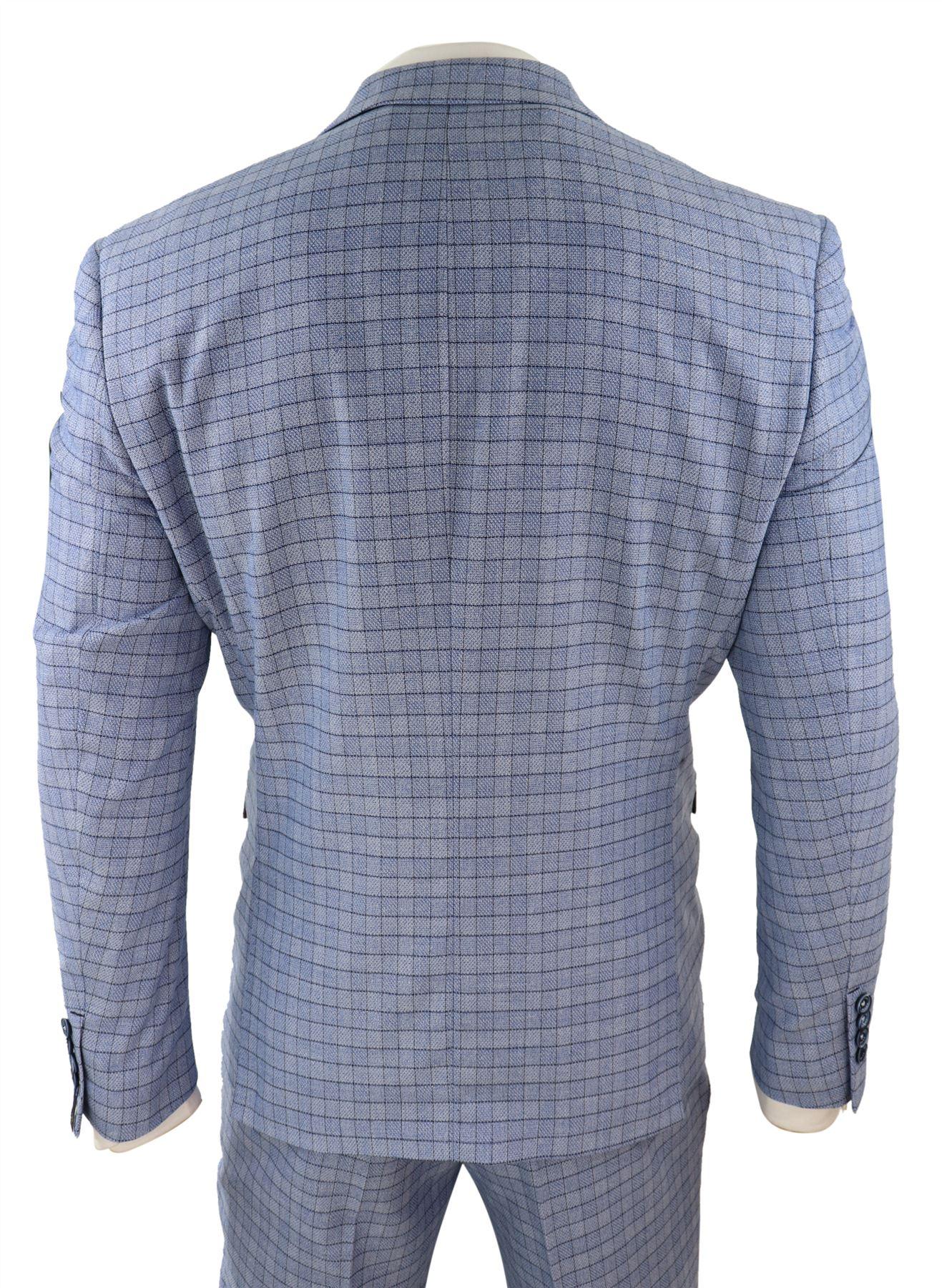 Herrenanzug 3 Teilig Blau Himmelblau Tweed Fischgräte Design Klassisch